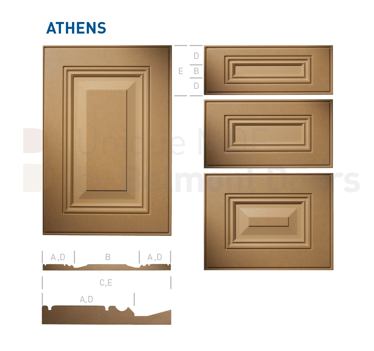 ATHENS Collection (Traditional Kitchen Cabinet Door Style MDF Set 17)