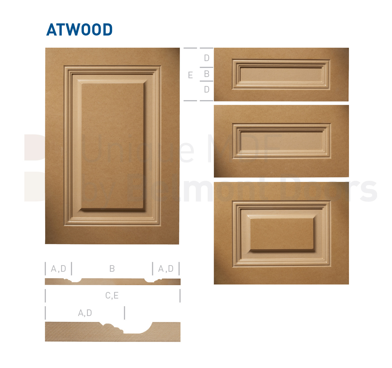 ATWOOD Collection (Traditional Kitchen Cabinet Door Style MDF Set 12)