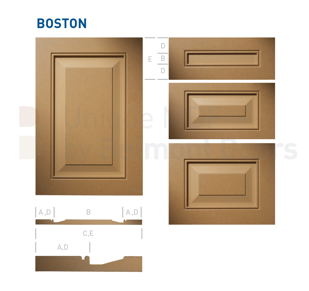 BOSTON Collection (Shaker - Raised Panel - Kitchen Cabinet Door Style MDF Set 2)