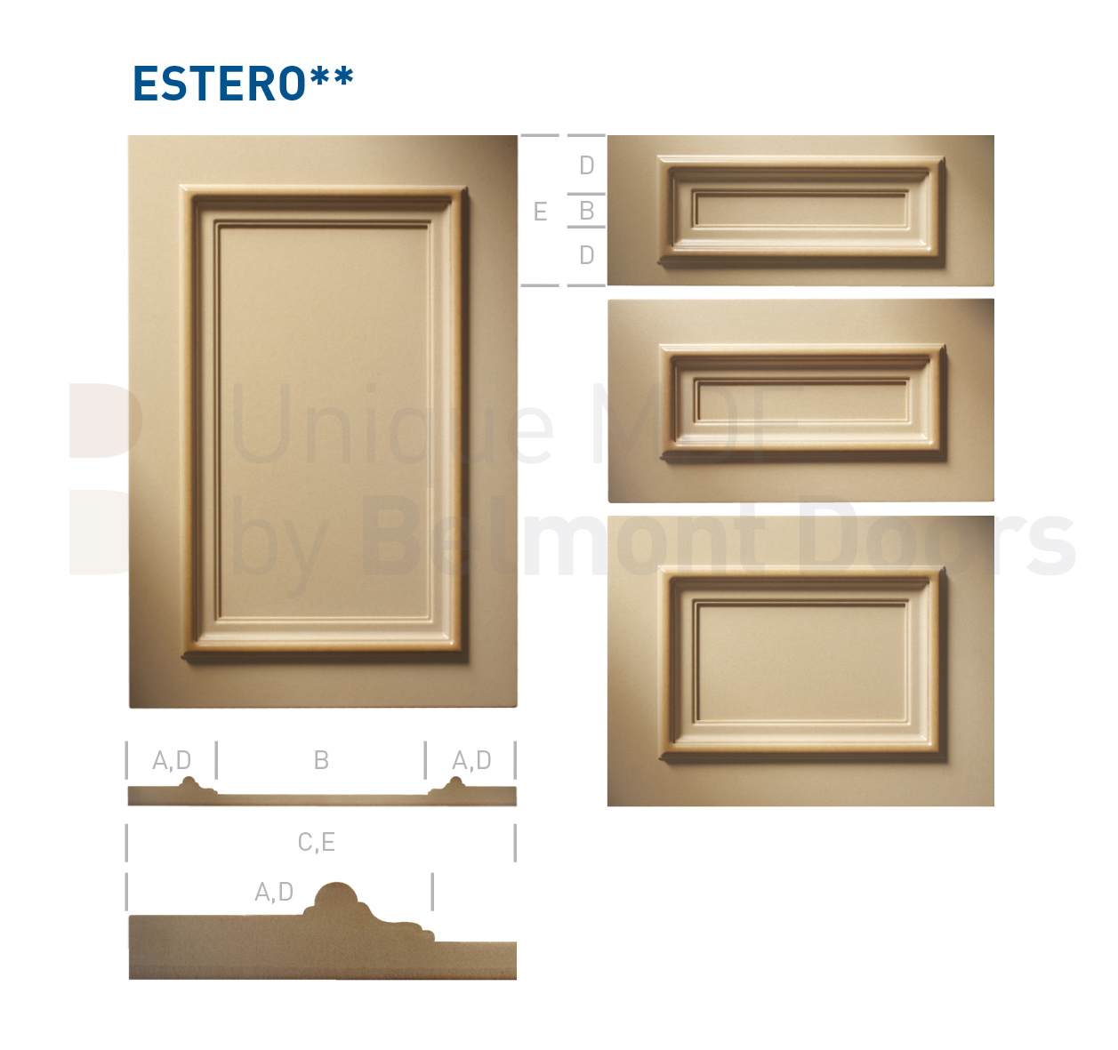 ESTERO** Collection (Classic Kitchen Cabinet Door Style MDF Set 5)