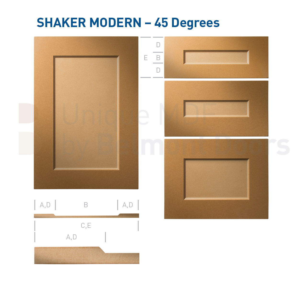 Shaker Modern 45 Degrees (Shaker Kitchen Cabinet Door Style MDF Set 2)