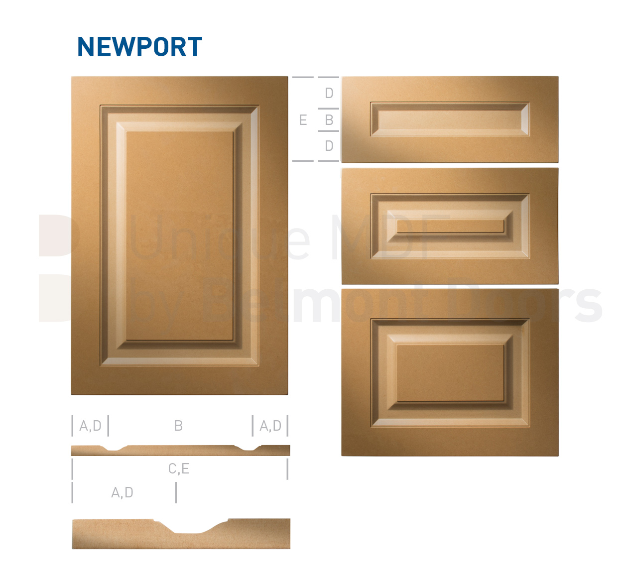 NEWPORT Collection (Traditional Kitchen Cabinet Door Style MDF Set)