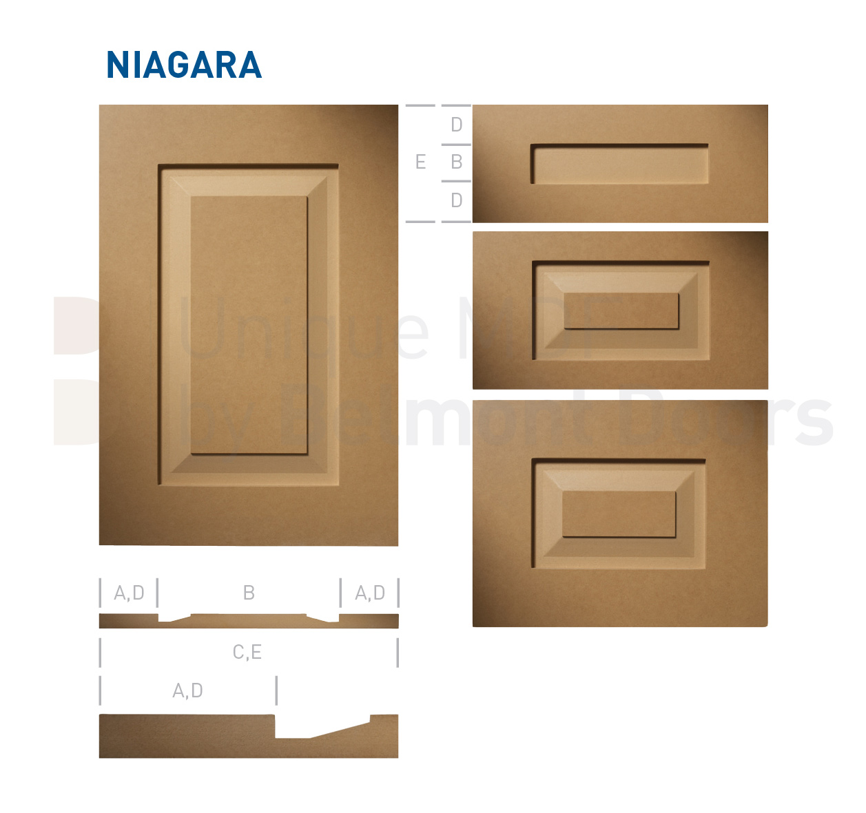 NIAGARA Collection (Shaker – Raised Panel – Kitchen Cabinet Door Style MDF Set 1)