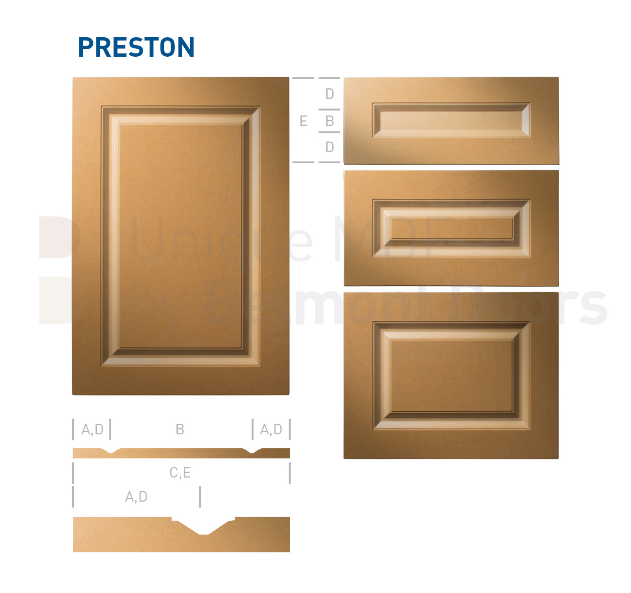 PRESTON Collection (Traditional Kitchen Cabinet Raised Panel Door Style MDF Set)