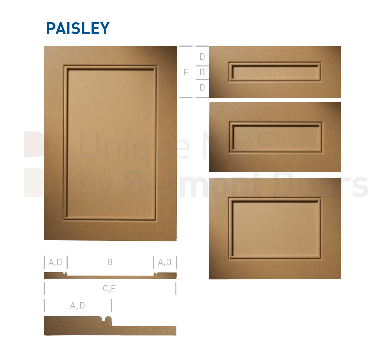 PAISLEY Collection (Shaker Kitchen Cabinet Door Style MDF Set 4)