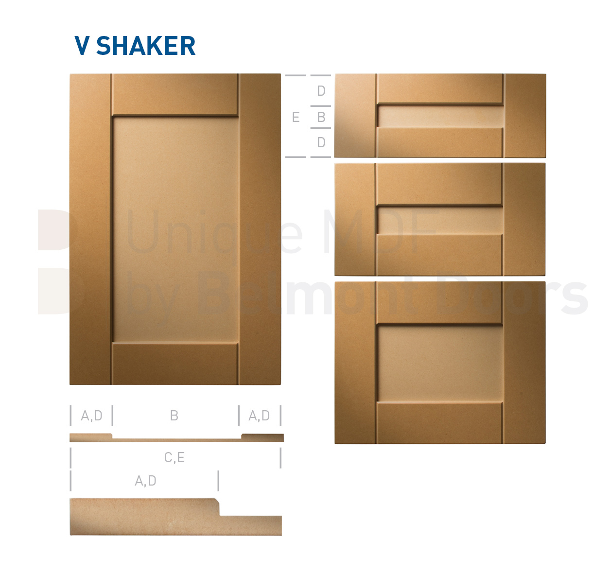 V Shaker (Shaker Kitchen Cabinet Door Style MDF Set 2)