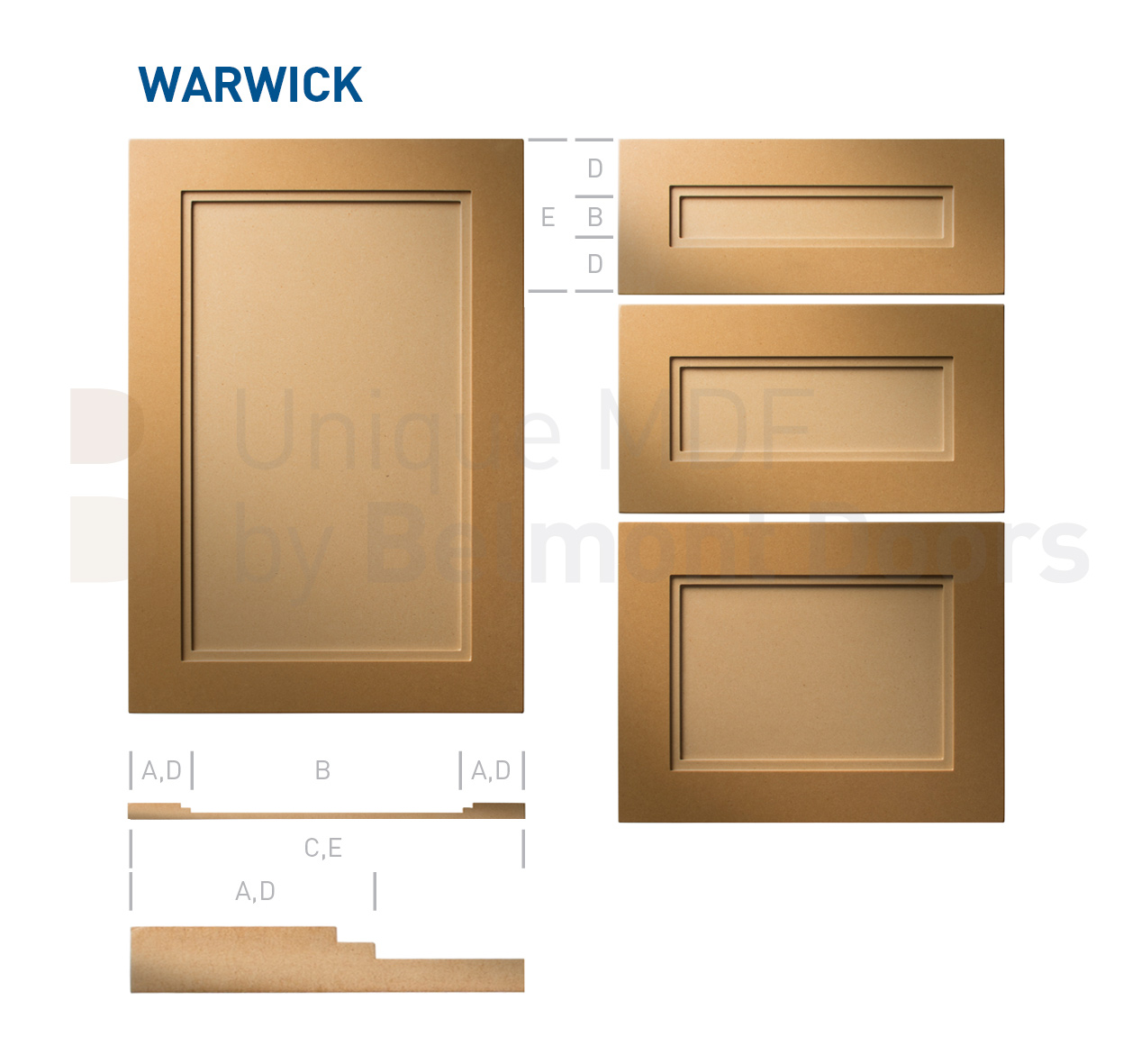 Warwick-Shaker-MDF-Doors-Flat Panel Kitchen Cabinet Doors Drawers by BelmontDoors.com