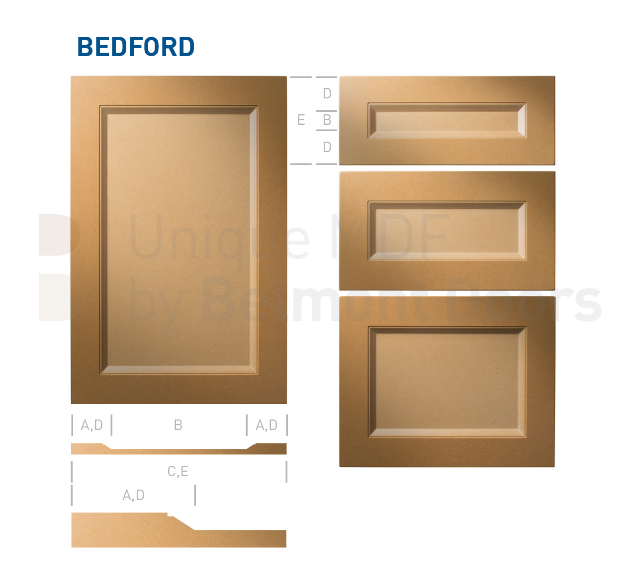 BEDFORD (Shaker Kitchen Cabinet Flat Panel Door Style MDF Set
