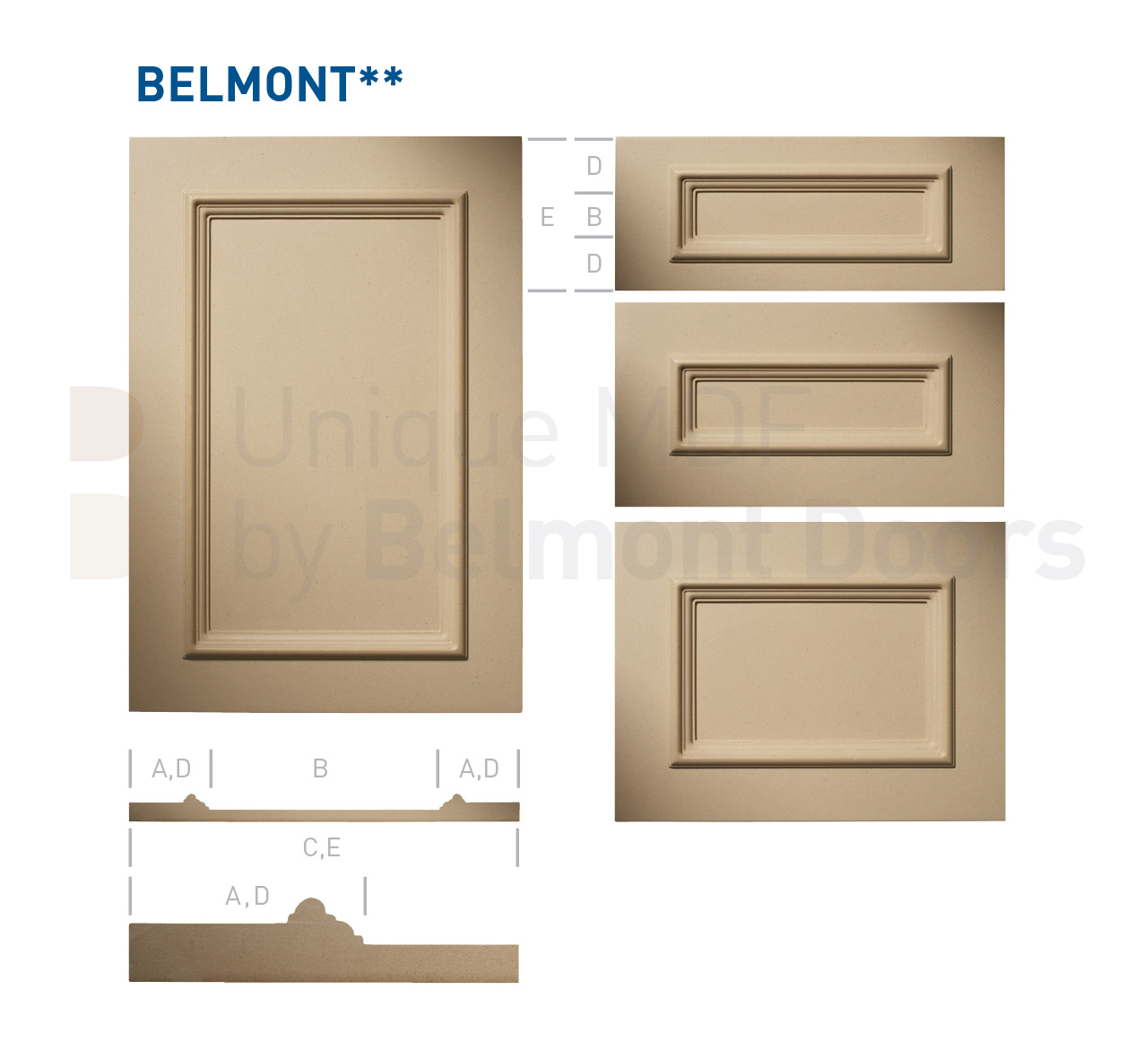 BELMONT** Collection (Classic Kitchen Cabinet Door Style MDF Set 7)