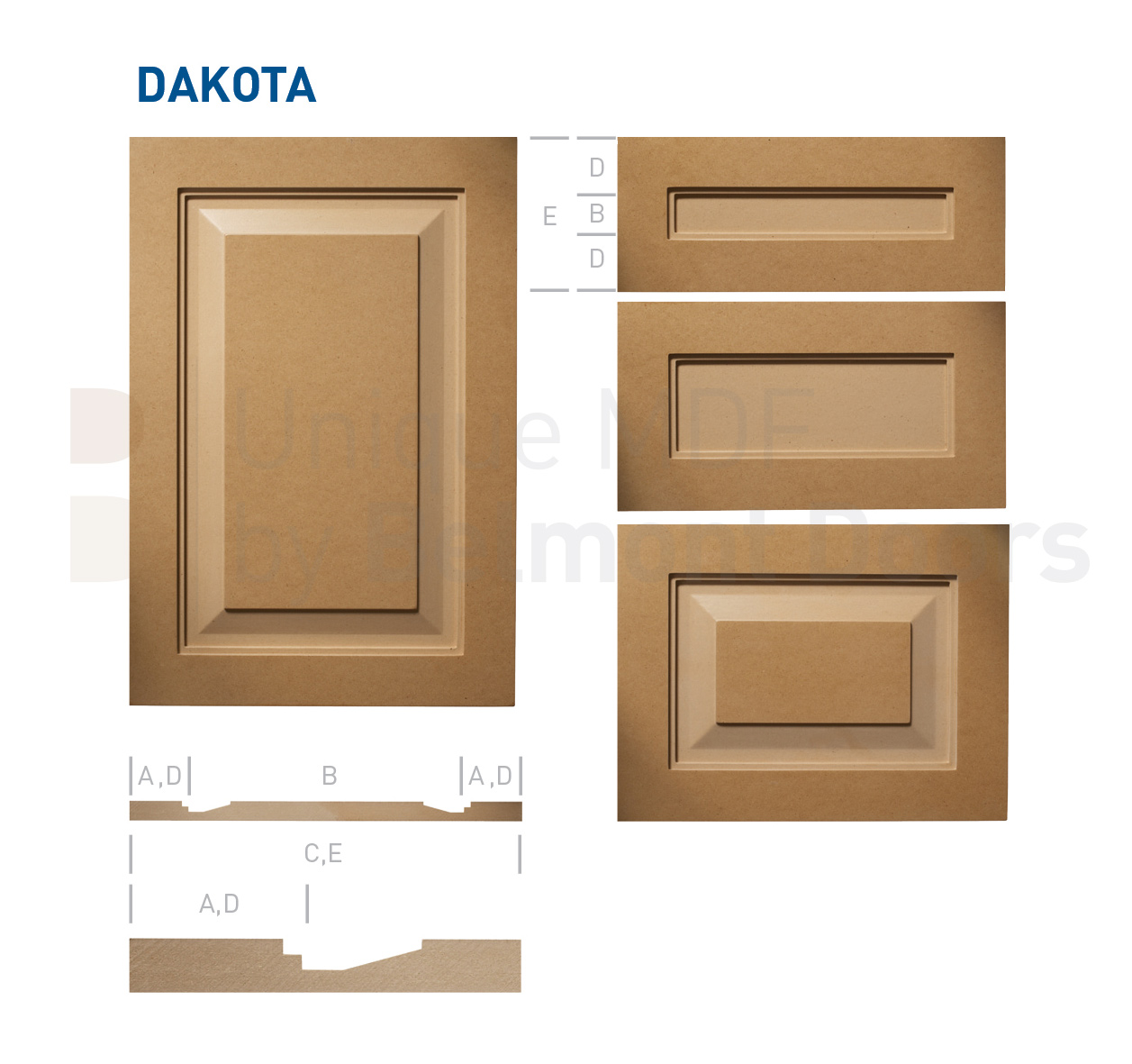 DAKOTA Collection (Transitional Kitchen Raised Panel Cabinet Door Style MDF Set 6)