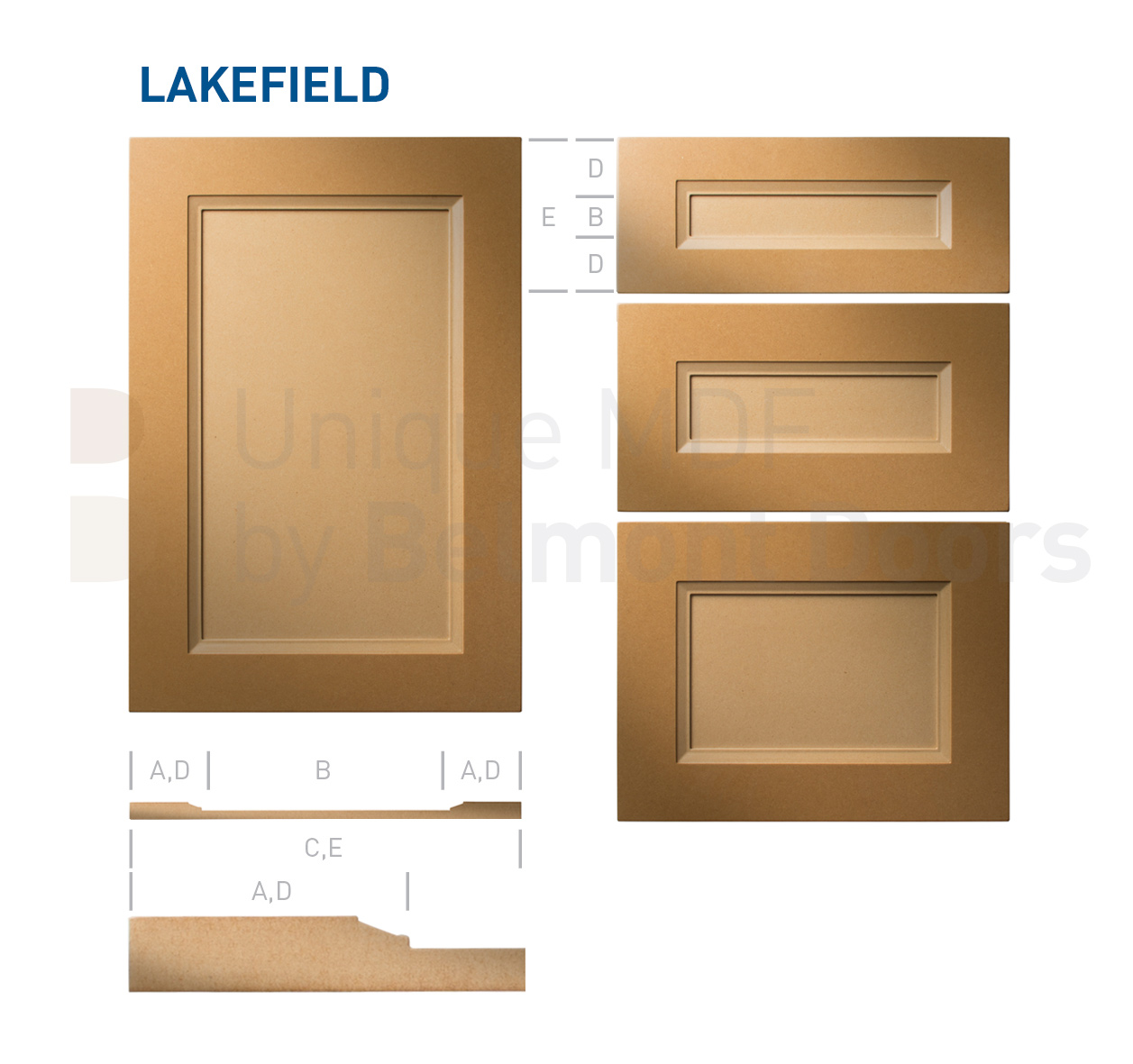 LAKEFIELD Collection (Transitional Kitchen Cabinet Door Style MDF Set)