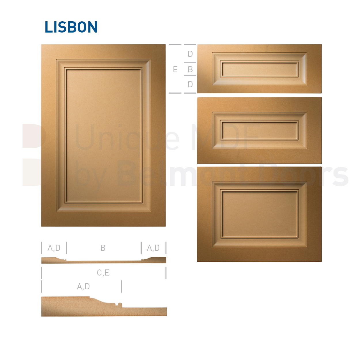 LISBON Collection (Traditional Kitchen Cabinet Door Style MDF Set)