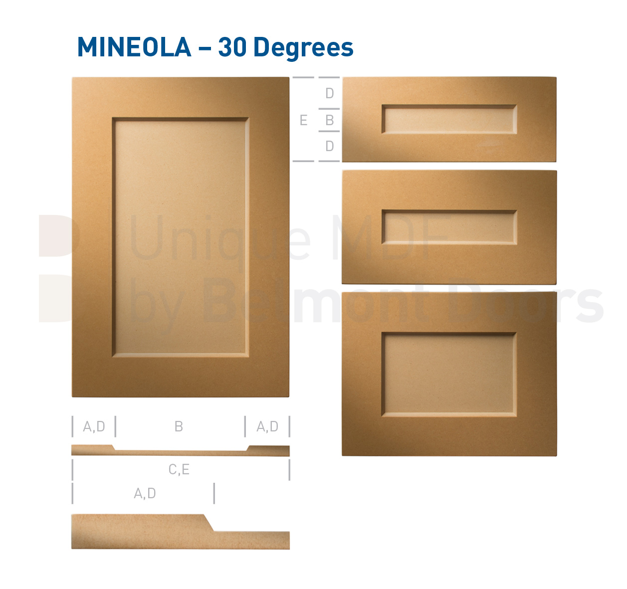 Mineola 30 Degrees (Shaker Kitchen Cabinet Door Style MDF Set)