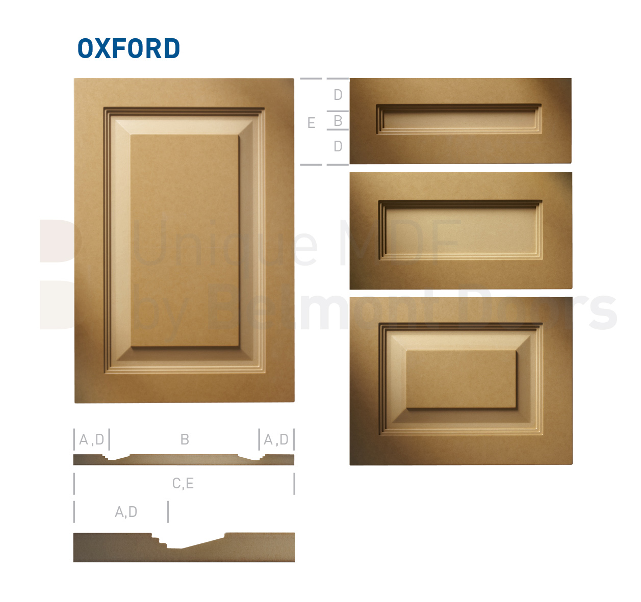 OXFORD Collection (Shaker - Raised Panel - Kitchen Cabinet Door Style MDF Set 4)