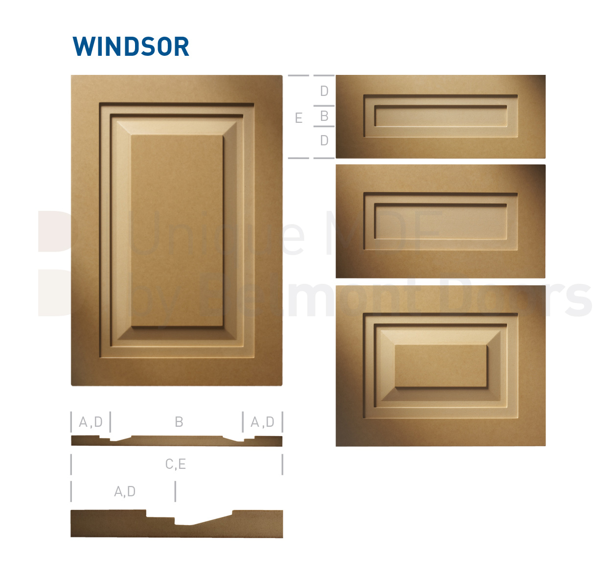 WINDSOR Collection (Shaker - Raised Panel - Kitchen Cabinet Door Style MDF Set 5)