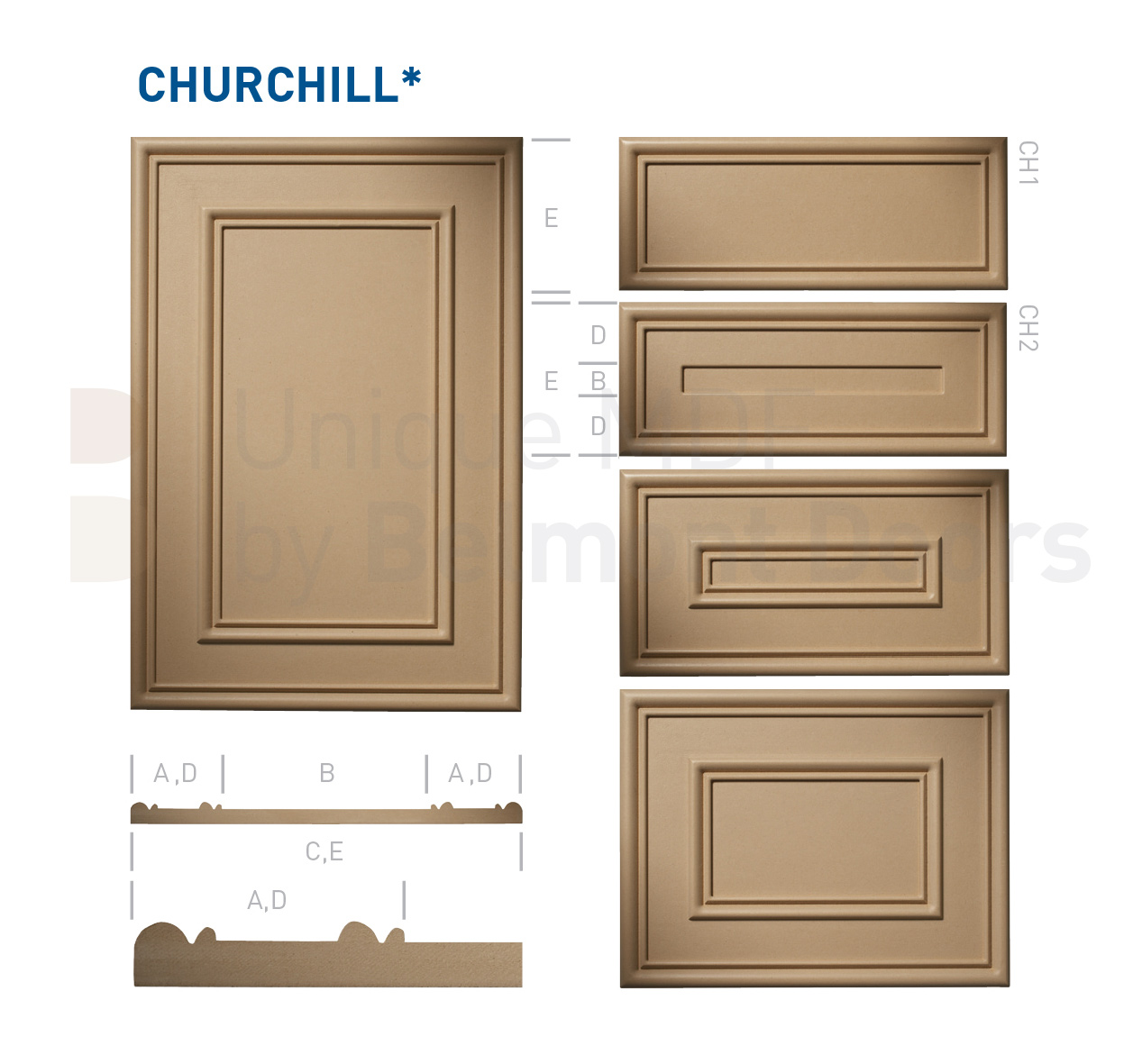 CHURCHILL* Collection (Classic Kitchen Cabinet Door Style MDF Set 8)